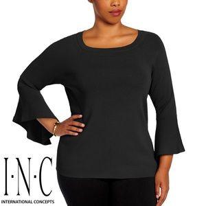 I.N.C. Black Bell Sleeve Slimming Sweater Top